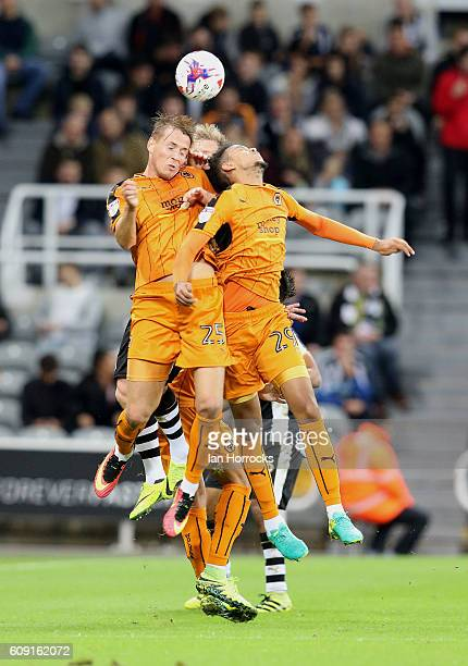 Paul Gladon and Cameron BorthwickJackson of Wolves sqeeze out Matt Ritchie of Newcastle during the EFL Cup third round match between Newcastle United...