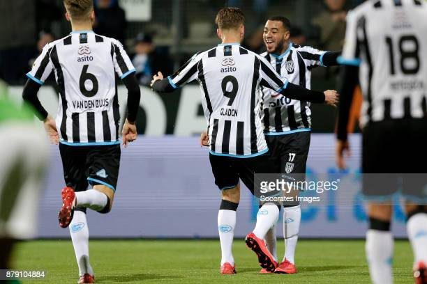 Paul Gladon of Heracles Almelo celebrates 21 with Brandley Kuwas of Heracles Almelo during the Dutch Eredivisie match between Heracles Almelo v NAC...