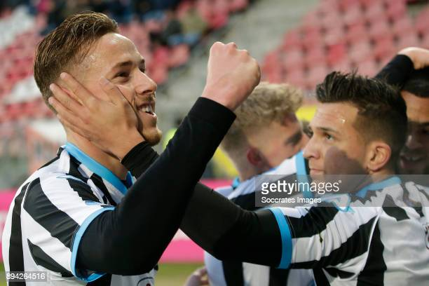 Paul Gladon of Heracles Almelo celebrates the 11 with Brahim Darri of Heracles Almelo during the Dutch Eredivisie match between FC Utrecht v Heracles...
