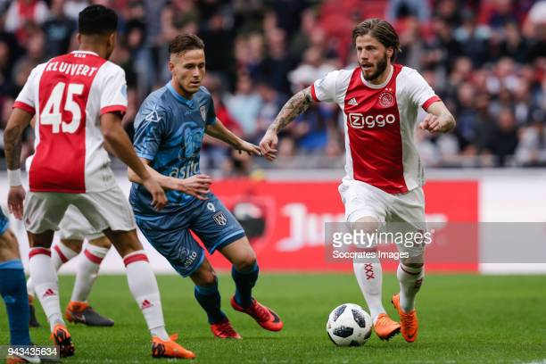 Paul Gladon of Heracles Almelo Lasse Schone of Ajax during the Dutch Eredivisie match between Ajax v Heracles Almelo at the Johan Cruijff Arena on...