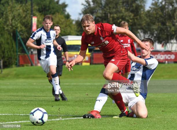 Paul Glatzel of Liverpool and Harry Williams of West Bromwich Albion in action during the Liverpool U18 v West Bromwich Albion U18 game at The Kirkby...