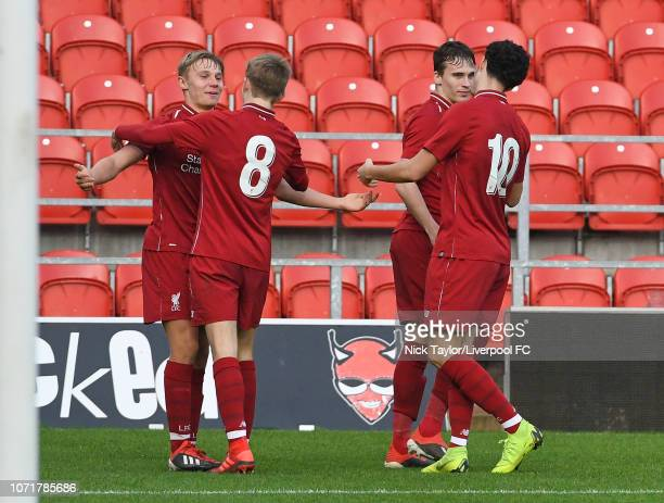 Paul Glatzel of Liverpool celebrates his goal with Jake Cain Liam Millar and Curtis Jones during the UEFA Youth League match between Liverpool and...