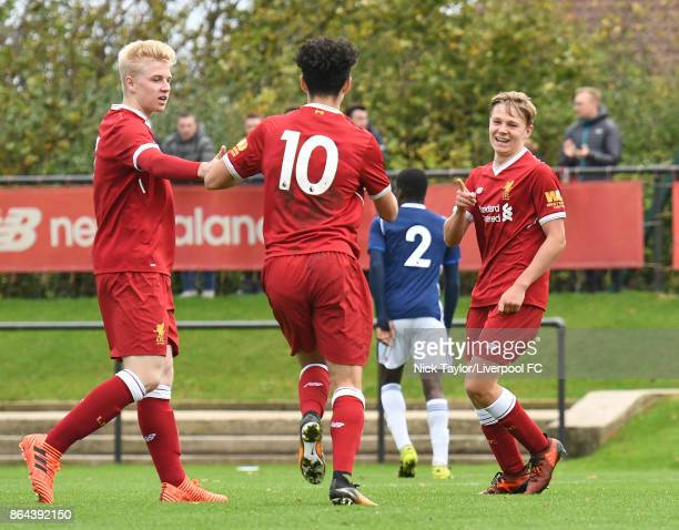Paul Glatzel of Liverpool celebrates his goal with team mates Luis Longstaff and Curtis Jones during the Liverpool v West Bromwich Albion U18 Premier...