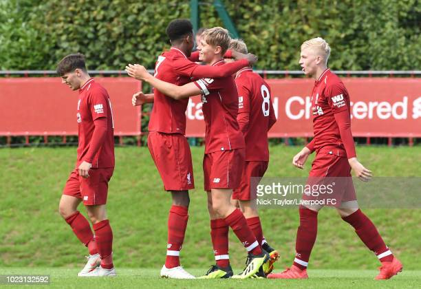 Paul Glatzel of Liverpool celebrates scoring Liverpool's fourth goal with team mates Abdi Sharif Bobby Duncan Jake Cain and Luis Longstaff during the...