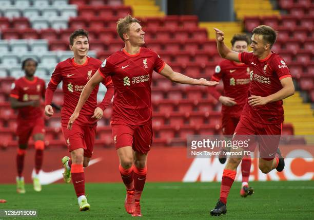 Paul Glatzel of Liverpool celebrates scoring Liverpool's second goal with James Norris during the PL2 game at Anfield on October 17, 2021 in...