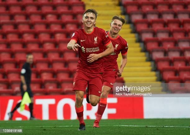 Paul Glatzel of Liverpool celebrates scoring Liverpool's second goal during the PL2 game at Anfield on October 17, 2021 in Liverpool, England.
