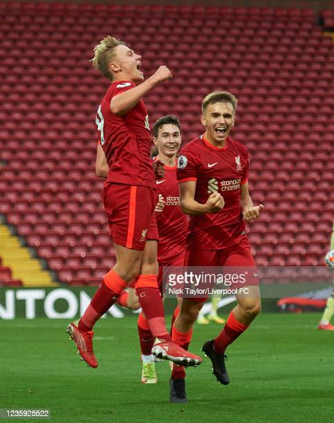 Paul Glatzel of Liverpool celebrates scoring Liverpool's second goal with James Norris during the PL2 game at Anfield on October 1, 2021 in...