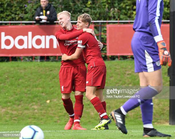 Paul Glatzel of Liverpool celebrates scoring the fourth goal for Liverpool with Luis Longstaff during the Liverpool U18 v West Bromwich Albion U18...