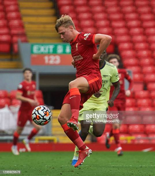 Paul Glatzel of Liverpool in action during the PL2 game at Anfield on October 16, 2021 in Liverpool, England.