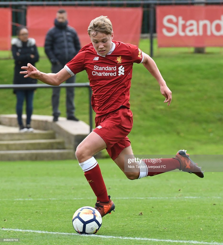 Paul Glatzel of Liverpool in action during the U18 friendly match between Liverpool and Burnley at The Kirkby Academy on October 6, 2017 in Kirkby, England.