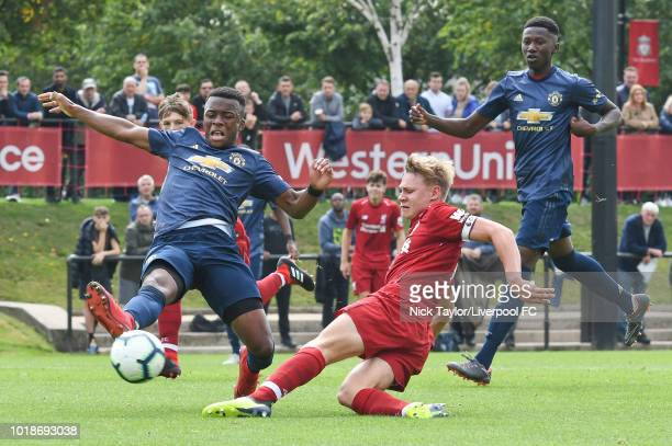 Paul Glatzel of Liverpool scores during the Liverpool U18 v Manchester United U18 game at The Kirkby Academy on August 18 2018 in Liverpool England