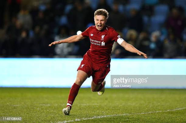 Paul Glatzel the captain of Liverpool celebrates after scoring the winning penalty during a penalty shoot out in the FA Youth Cup Final between...