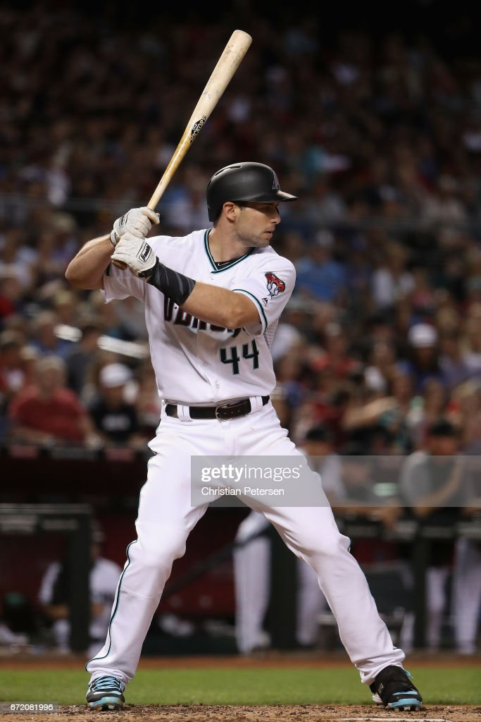 Paul Goldschmidt #44 of the Arizona Diamondbacks bats against the Los Angeles Dodgers during the MLB game at Chase Field on April 21, 2017 in Phoenix, Arizona.