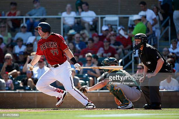 Paul Goldschmidt of the Arizona Diamondbacks bats against the Oakland Athletics during the spring training game at Salt River Fields at Talking Stick...