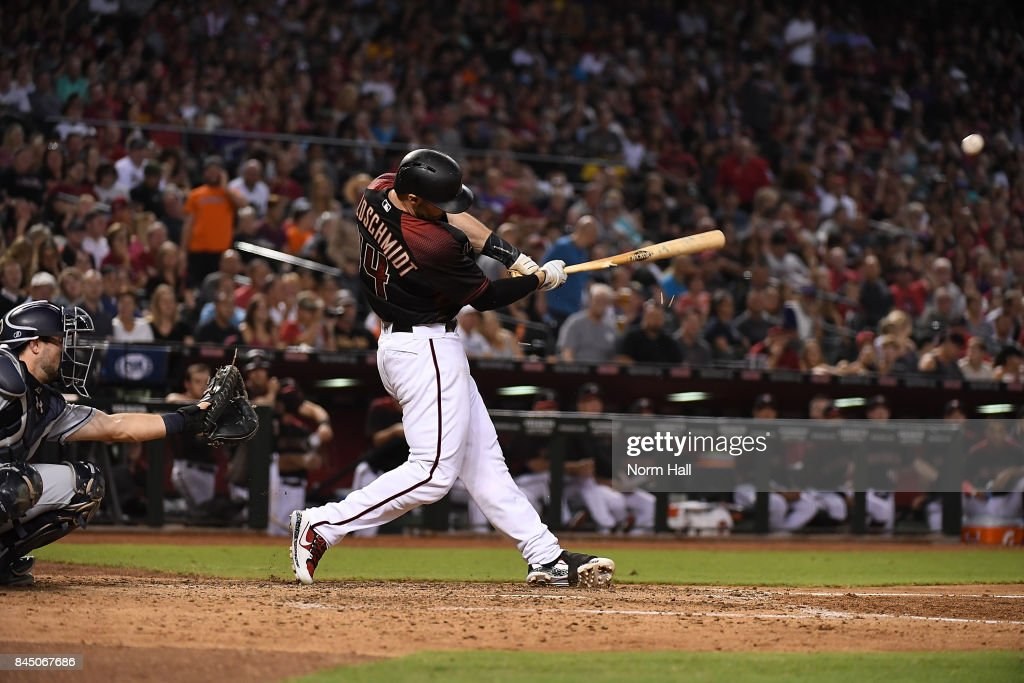 Paul Goldschmidt #44 of the Arizona Diamondbacks breaks his bat on an RBI single against the San Diego Padres during the fifth inning at Chase Field on September 9, 2017 in Phoenix, Arizona.