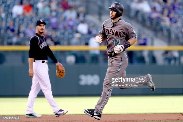 Paul Goldschmidt of the Arizona Diamondbacks circles the bases after hitting a solo home run in the first inning against the Colorado Rockies at...