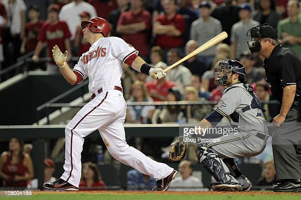 Paul Goldschmidt of the Arizona Diamondbacks hits a grand slam in the fifth inning off pitcher Shaun Marcum of the Milwaukee Brewers in Game Three of...