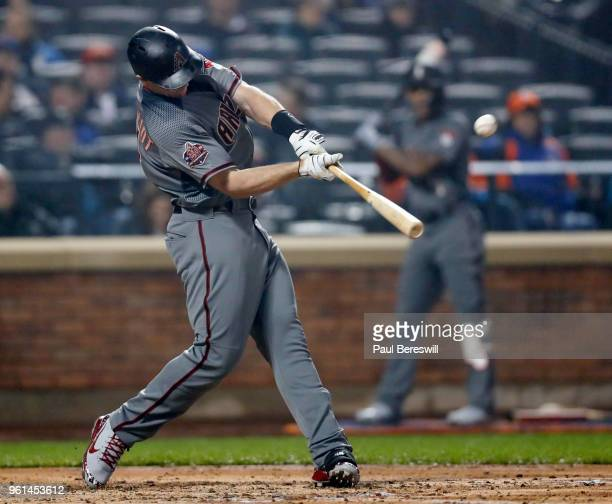 Paul Goldschmidt of the Arizona Diamondbacks hits a home run the 4th inning in an MLB baseball game against the New York Mets on May 19 2018 in the...