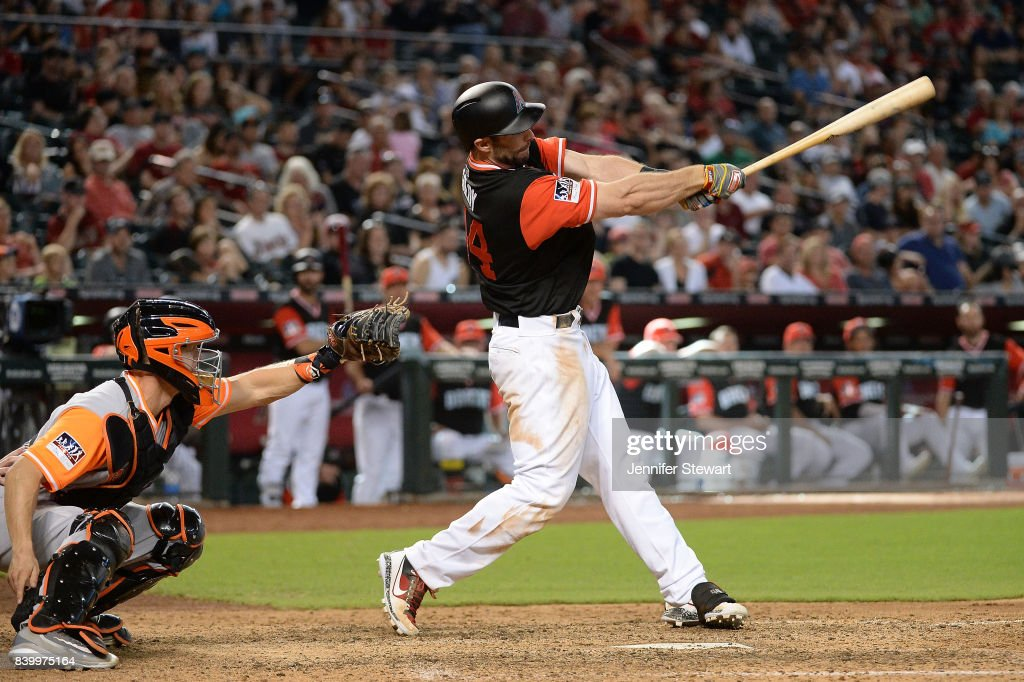 Paul Goldschmidt #44 of the Arizona Diamondbacks hits a three run homer in the eighth inning against the San Francisco Giants at Chase Field on August 27, 2017 in Phoenix, Arizona.