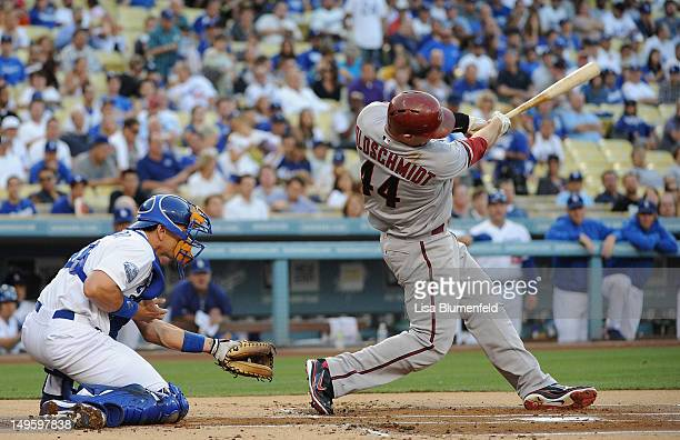 Paul Goldschmidt of the Arizona Diamondbacks hits a two run homerun in the first inning against the Los Angeles Dodgers at Dodger Stadium on July 31...
