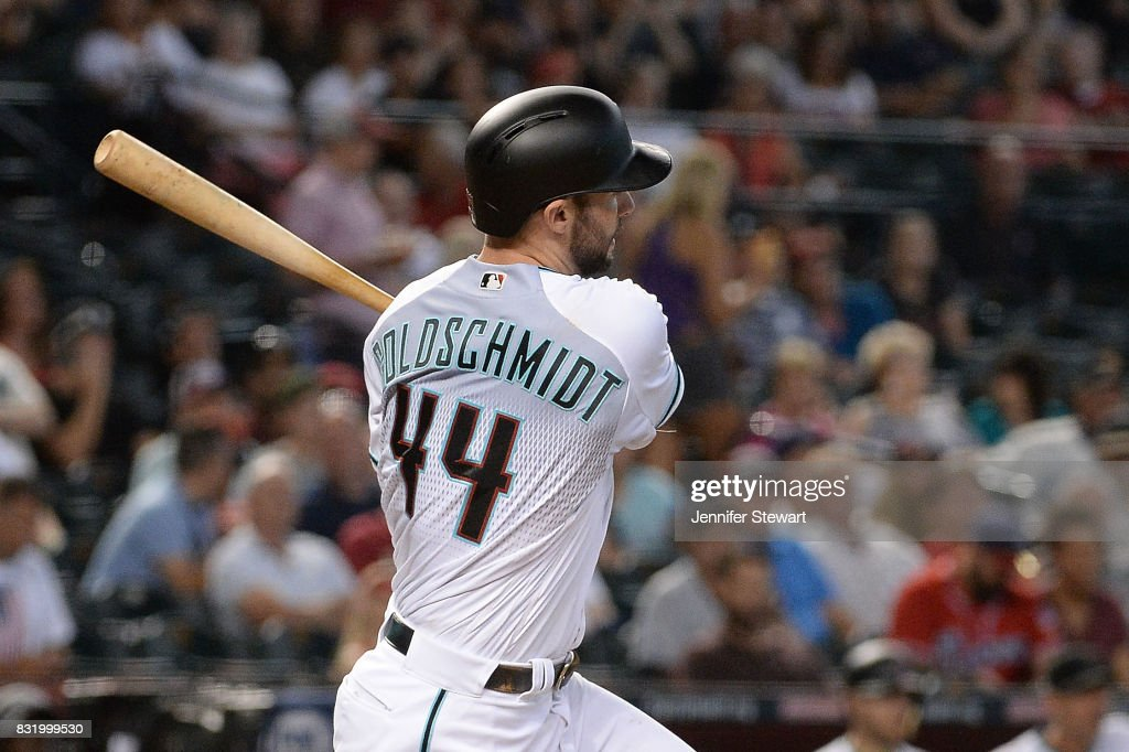 Paul Goldschmidt #44 of the Arizona Diamondbacks hits an RBI triple in the fifth inning against the Houston Astros at Chase Field on August 15, 2017 in Phoenix, Arizona.