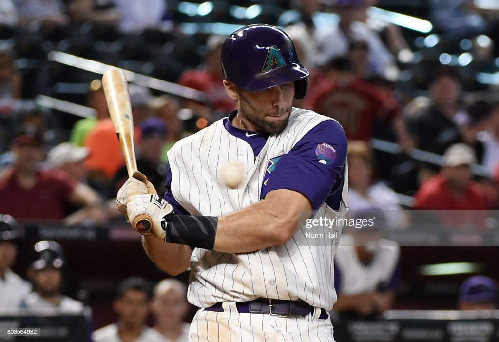 Paul Goldschmidt #44 of the Arizona Diamondbacks just gets out of the way of an inside pitch against the St Louis Cardinals during the ninth inning at Chase Field on June 29, 2017 in Phoenix, Arizona. Cardinals won 10-4.
