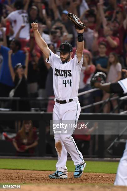 Paul Goldschmidt of the Arizona Diamondbacks reacts after beating the Colorado Rockies 118 in the National League Wild Card game at Chase Field on...