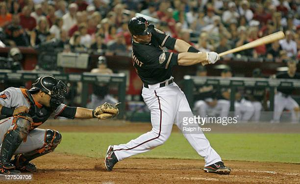 Paul Goldschmidt of the Arizona Diamondbacks swings at a pitch against the San Francisco Giants during a Major League Baseball game at Chase Field on...