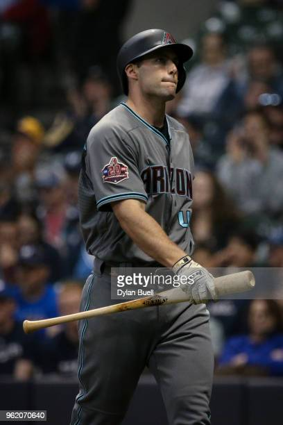 Paul Goldschmidt of the Arizona Diamondbacks walks back to the dugout after striking out in the sixth inning against the Milwaukee Brewers at Miller...