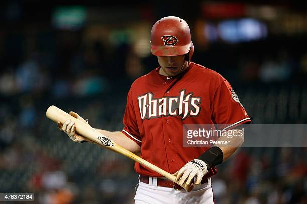Paul Goldschmidt of the Arizona Diamondbacks walks to the dugout during the MLB game against the Atlanta Braves at Chase Field on June 3 2015 in...