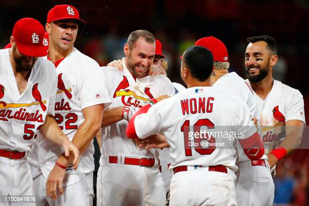 Paul Goldschmidt of the St. Louis Cardinals celebrates after hitting a walk-off home run against the Miami Marlins in the eleventh inning at Busch...