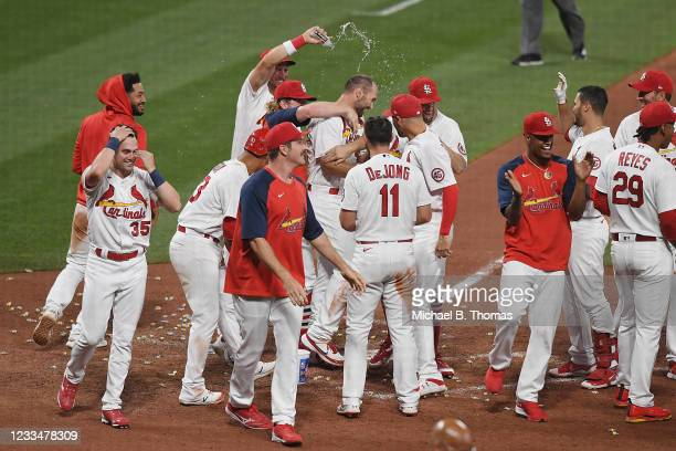 Paul Goldschmidt of the St. Louis Cardinals celebrates after hitting a walk-off home run in the ninth inning against the Miami Marlins at Busch...