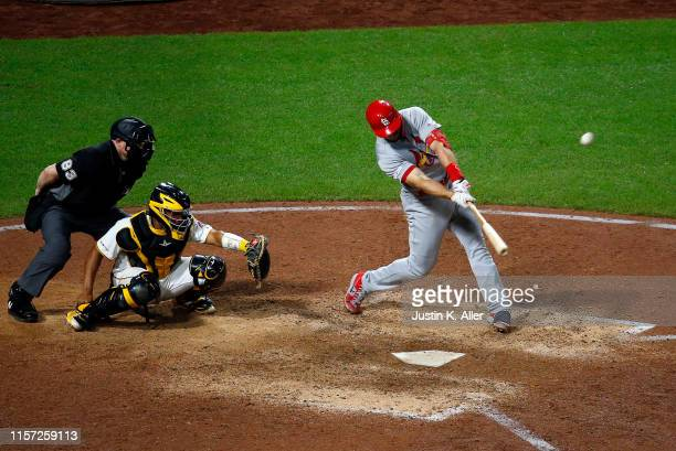 Paul Goldschmidt of the St. Louis Cardinals hits a grand slam home run in the tenth inning against the Pittsburgh Pirates at PNC Park on July 22,...