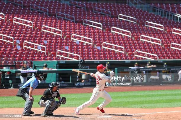 Paul Goldschmidt of the St. Louis Cardinals hits a single against the Pittsburgh Pirates seventh inning at Busch Stadium on July 25, 2020 in St...