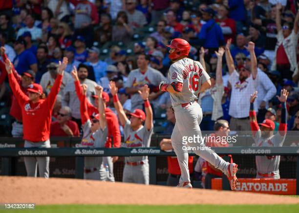Paul Goldschmidt of the St. Louis Cardinals hits a two run home run in the third inning in game one of a doubleheader against the Chicago Cubs...