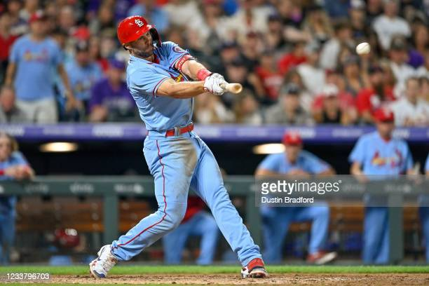 Paul Goldschmidt of the St. Louis Cardinals hits an eighth inning RBI single against the Colorado Rockies at Coors Field on July 3, 2021 in Denver,...