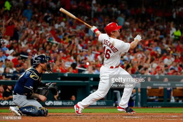 Paul Goldschmidt of the St. Louis Cardinals hits his second home run of the game, for three RBIs against the Milwaukee Brewers in the sixth inning at...