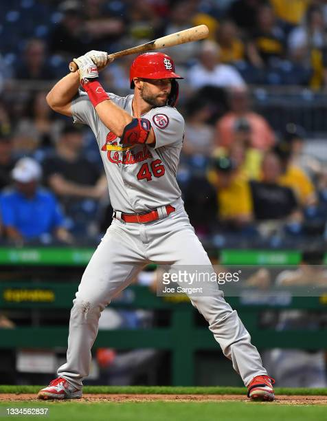Paul Goldschmidt of the St. Louis Cardinals in action during the game against the Pittsburgh Pirates at PNC Park on August 11, 2021 in Pittsburgh,...