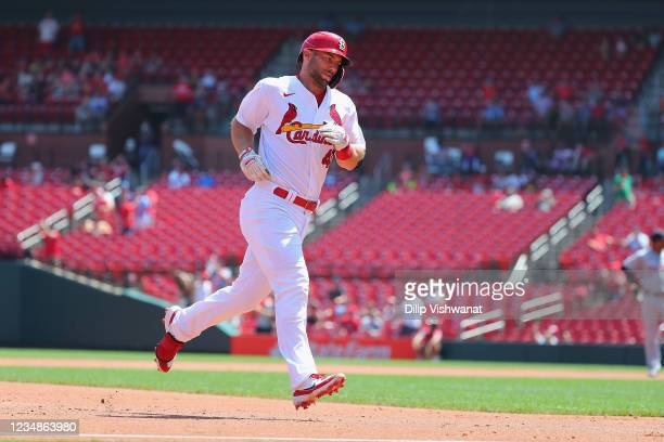 Paul Goldschmidt of the St. Louis Cardinals rounds the bases after hitting his second home run of the game against the Detroit Tigers in the first...