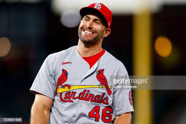Paul Goldschmidt of the St. Louis Cardinals smiles on the field during the fourth inning against the Colorado Rockies at Coors Field on July 1, 2021...