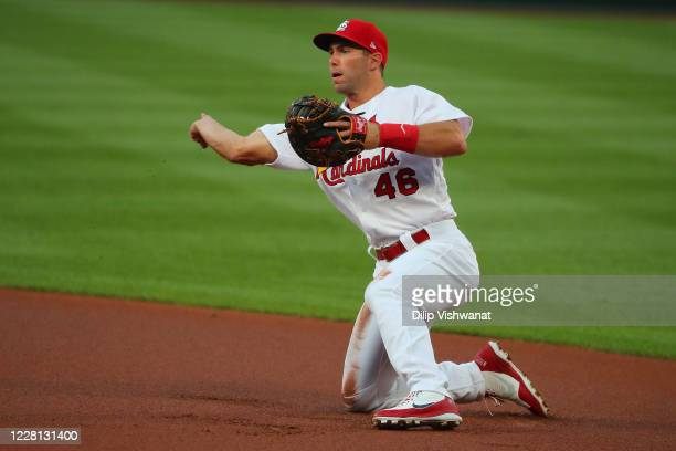 Paul Goldschmidt of the St. Louis Cardinals throws to first base against the Cincinnati Reds at Busch Stadium on August 20, 2020 in St Louis,...