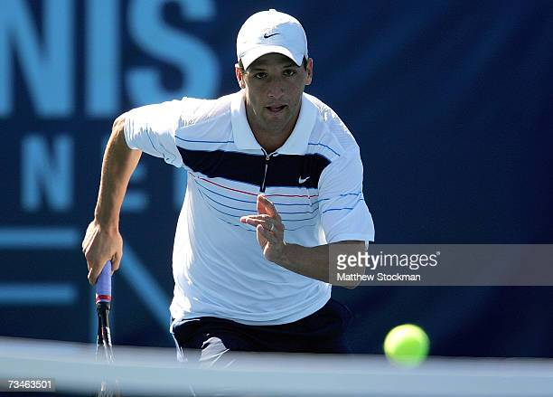 Paul Goldstein chases down a ball while playing Sam Querrey during the Tennis Channel Open March 1 2007 at Darling Tennis Center in Las Vegas Nevada