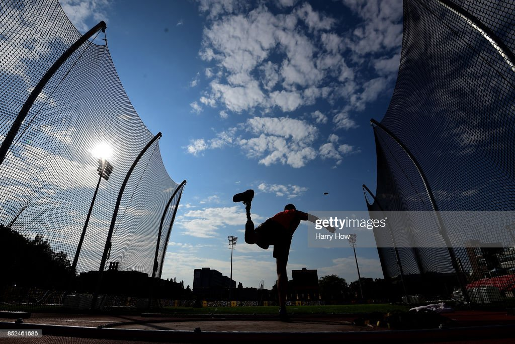Paul Gommers of The Netherlands practices his discus at a training session during the Invictus Games 2017 at York Lions Stadium on September 23, 2017 in Toronto, Canada