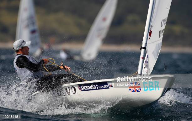Paul Goodison of Great Britain in action during a Laser Class race during day five of the Weymouth and Portland International Regatta at the Weymouth...