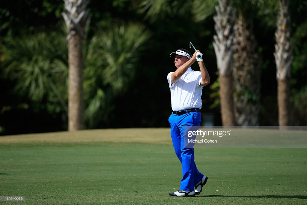 Paul Goydos hits his second shot on the sixth hole during the second round of the Allianz Championship held at The Old Course at Broken Sound on February 7, 2015 in Boca Raton, Florida.