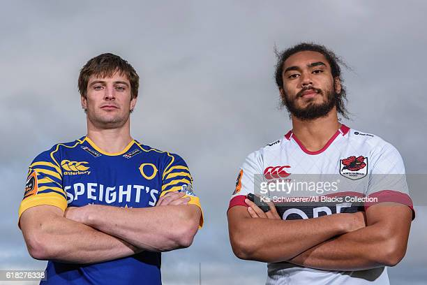 Paul Grant of Otago and Chris Vui of North Harbour pose during a Mitre 10 Cup Final media opportunity at AMI Stadium on October 26 2016 in...