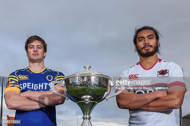 Paul Grant of Otago and Chris Vui of North Harbour pose with the Rugby Cup during a Mitre 10 Cup Final media opportunity at AMI Stadium on October 26...