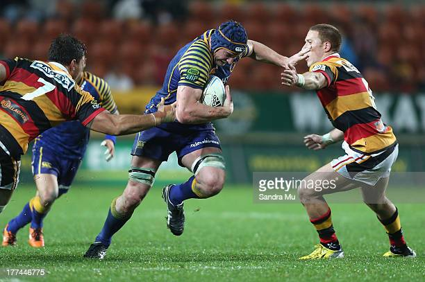 Paul Grant of Otago in action during the round two ITM Cup Ranfurly Shield match between Waikato and Otago at Waikato Stadium on August 23 2013 in...