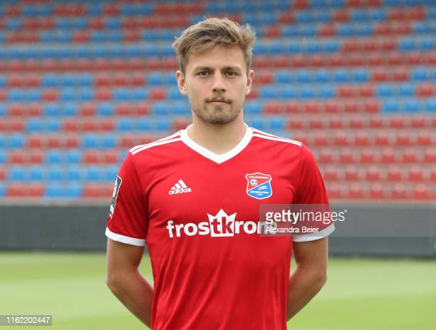 Paul Grauschopf of SpVgg Unterhaching poses during the team presentation at the club's Sportpark stadium on July 11, 2019 in Unterhaching, Germany.