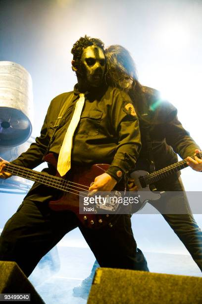 Paul Gray and Jim Root of Slipknot perform on stage at Hammersmith Apollo on December 2nd 2008 in London